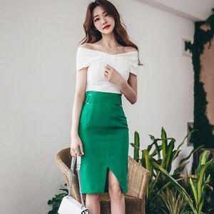 Verde Completo 3612 Tubino Raffinato Gonna Elegante Bianco Slim Top AwUY8q