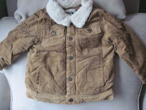 NWT Gymboree Boys Khaki Fleece Trim Corduroy Jacket//Coat Size 2T-3T