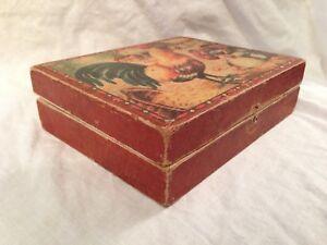 Puzzle victorien vintage en bloc de bois dans sa boîte d'origine - scènes de basse-cour