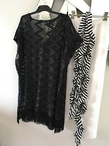 TS-TAKING-SHAPE-Black-Lace-Fringe-Layering-Tunic-Top-XXS-PC