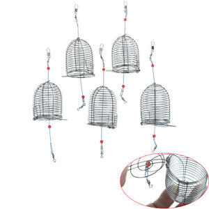 5PCs Wire Fishing Lure Cage Fish Bait Cage Fishing Trap Basket Feeder Holder BR