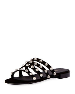 a3f0ca16f49 Details about Balenciaga Studded Suede Slide Flat Sandal Black 40 IT /  9.5-10 US