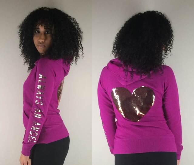 NWT VICTORIA/'S SECRET GOLD Sequin Bling HEART Supermodel Black Hoodie Sweatshirt