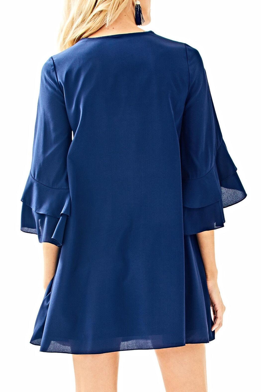 278.00 NWT LILLY PULITZER TATIANA DRESS STRETCH SILK EMBELLISHED NAVY XXS,XS,M