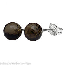 6mm FACETED SMOKY / SMOKEY QUARTZ BEAD / BALL 925 STERLING SILVER STUD EARRINGS