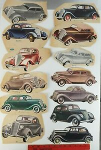 Vintage Lot of 13 Paper Old Ford Cars Cut Out of 1950's Magazine Advertisements