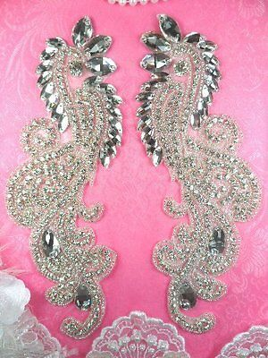 DH4 Rhinestone Appliques Mirror Pair Crystal Clear Glass Silver Beaded 9""