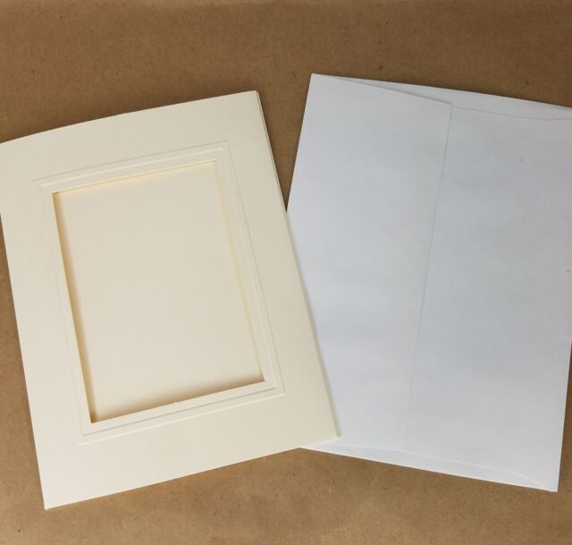 20 Ivory DCWV Photo Insert Cards with Envelopes A2 Size Texured Embossed 4pk x 5