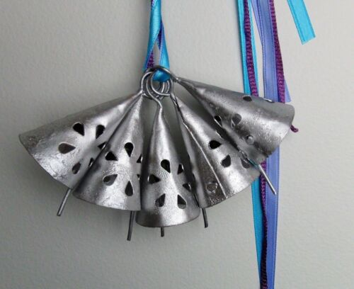 Set of 5 TRIANGLE SILVER WEDDING Bells with TEARDROP Cutouts-CHIMES,Crafts-#10
