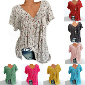 Womens-Casual-Summer-Loose-Pullover-Shirt-Blouse-Tee-Ladies-Floral-Tops-UK-8-24