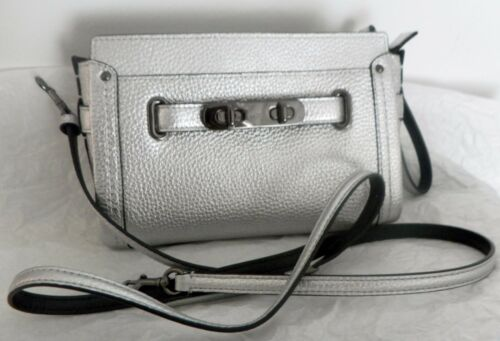New in Coach Polsino pelle With Label Stone 53032 Silver Swagger marrone FEwYxgFqr