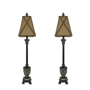 Sensational Details About Set Of 2 35 Traditional Bronze Buffet Lamps Table Lamp Set Living Room Bedroom Home Interior And Landscaping Elinuenasavecom