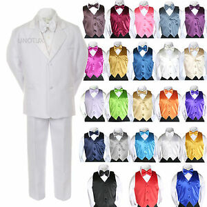 9e563993994f New Boy Kid Formal Wedding 7pc White Suit Tuxedo Royal Blue Vest Tie ...