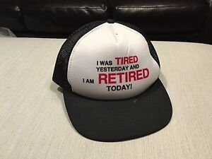 43dc153f28 Details about Vintage Tired Yesterday Retired Today Trucker Hat Adjustable  Cap Black & White