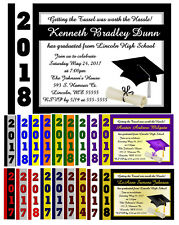 Purple Gold Graduation Announcements Invitations