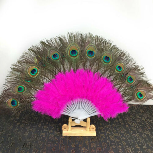 Women Peacock Feather Hand Fan Belly Dance Peacock Fan Craft Hand Fan Supplies