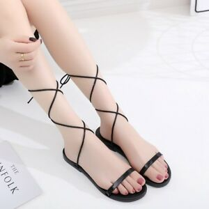 17f5d1030d7 Details about Women Fashion Lace Up Summer Gladiator Design Flat Cross  Strappy Flat Sandals