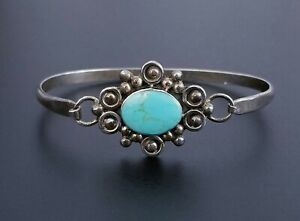VTG-Sterling-Silver-TAXCO-Turquoise-Inlay-Hook-Bangle-Bracelet-7-034-15-73g