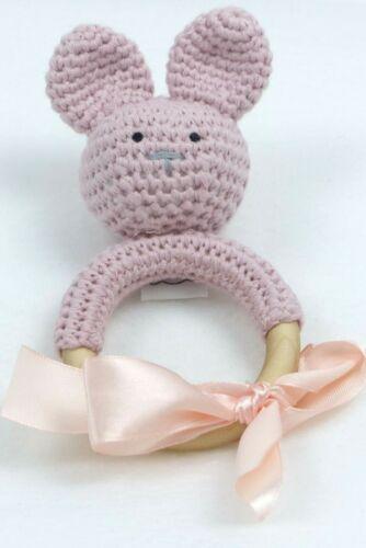 Baby-Spielzeug Rassel Beißring Hase Holz gehäkelt 100/% Bio-Baumwolle Geschenk