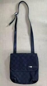 Preowned-Tumi-T-Logo-Black-Nylon-Leather-Trim-12-Crossbody-Bag