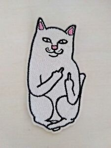 Cat Middle Finger Patch - Rip N Dip Style IRON ON - USA Shipping