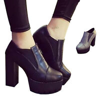 Sexy Womens Ladies Chelsea High Heel Ankle Boots Chunky Block Platform Shoes New