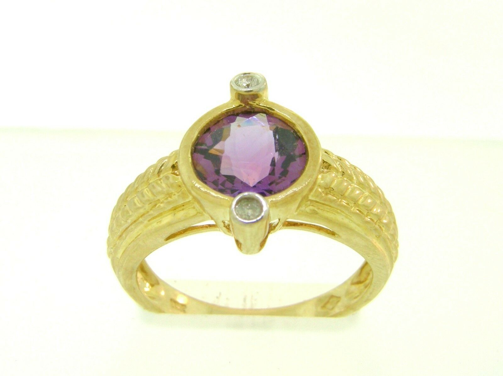 Gorgeous Natural  Amethyst & Genuine Diamonds Solid 10K Yellow gold Ring