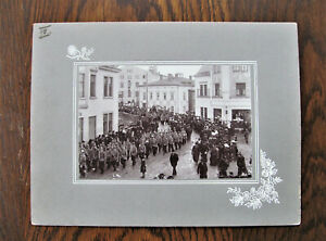 Feuerwehr sehr große Beerdingung 1908  welche Stadt ? Historisches Großes Foto