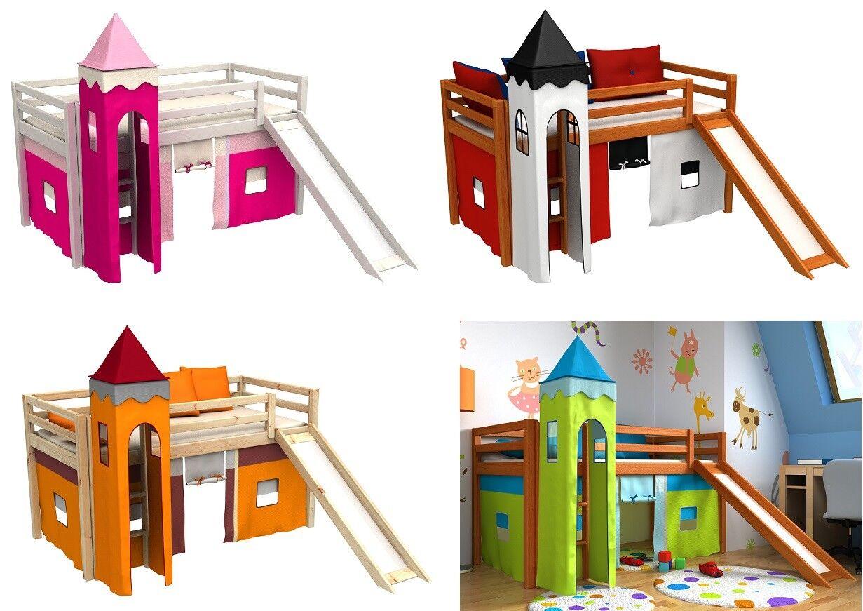 Letto per bambini con scivolo,tenda,torre,materasso,rete a doghe,letto a castell