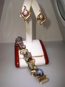 VINTAGE-1960-039-S-IRIDESCENT-MOLDED-GLASS-BRACELET-amp-MATCHING-CLIP-ON-EARRINGS