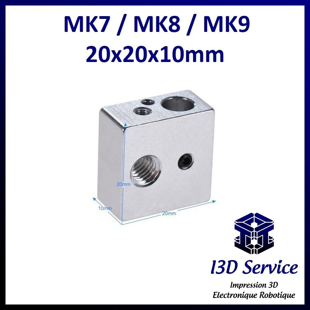 Body Of Warmer Extruder MK7/MK8 20x20x10 Ideal Prusa i3, Anet A8 Etc