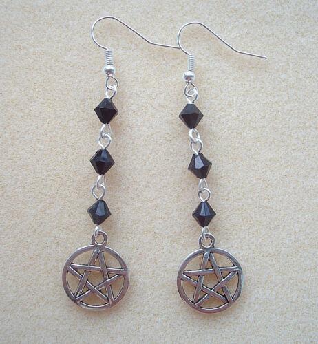 Largo Dangly Pendientes de Perlas Negro y pentagrama-Wicca Bruja Pagano Goth