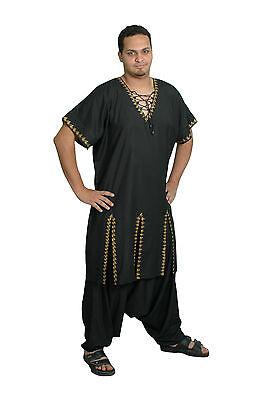 2 Tlg.set - Uomo Salwar Kameez Tunica Nero/oro In Pakistani Stile Kam00395 Imballaggio Di Marca Nominata