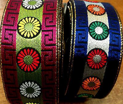 "VINTAGE Metallic Jacquard Embroidered Cotton 1 1//2/"" Ribbon Trim 1yd France"