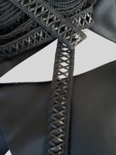 Faux Cuir Noir X Motif Gimp Braid Lace Tape Sewing Trim-TR0036 W2.7cm