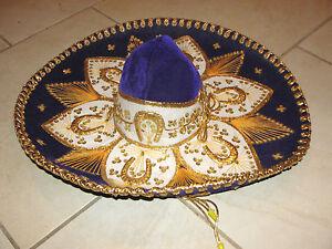 "VTG 21"" PIGALLE ELEGANTE XXXXX purple & gold MEXICAN MARIACHI SOMBRERO HAT adult"