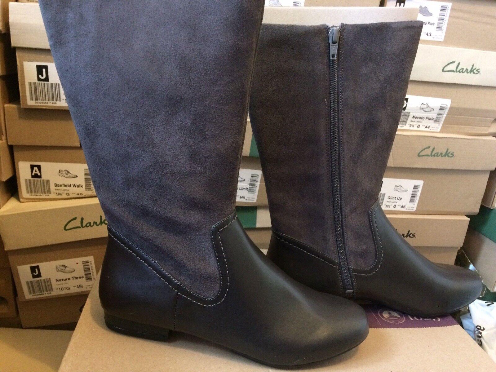 Clarks Mountain Mist Women's Dark Grey Combi Leather Boots Size 5D. RRP