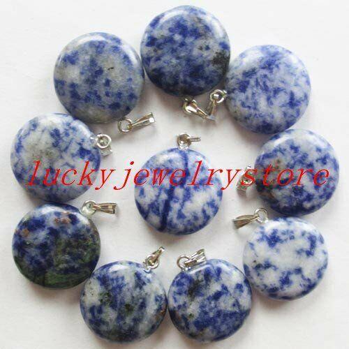 YHQ-36 Beautiful Mixed stone round pendant bead 8pcs 20x7mm
