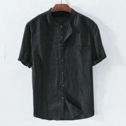 Men Baggy Cotton Linen Solid Tee Short Sleeve Retro T Shirts Tops Blouse  New