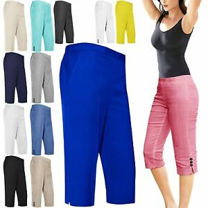 WOMENS LADIES 3/4 SHORTS ELASTICATED CROPPED CAPRI TROUSERS THREE ...