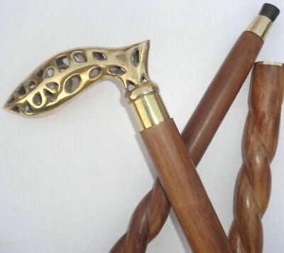 Vintage Brass Derby Head Handle Victorian Wooden Walking Stick Antique Cane Gift