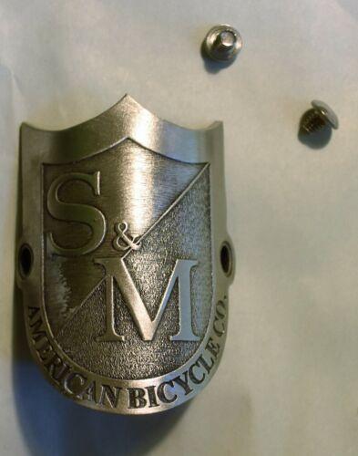 S/&M Shield Head Tube Badge Bolt On for BMX Cruiser Bikes