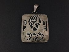 Vintage Mexican Sterling Silver Kokopelli Bear Claw Pendant