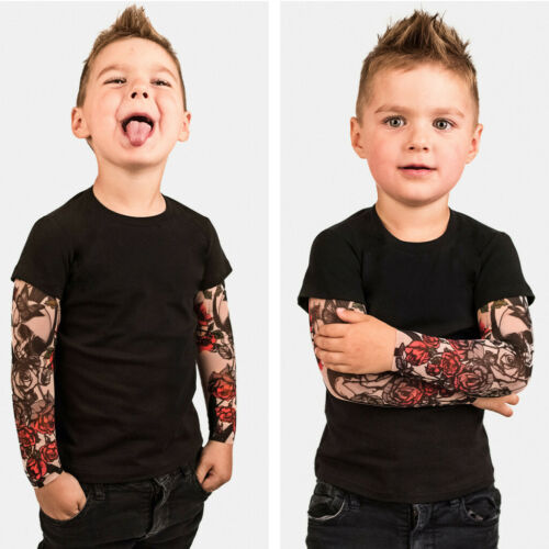 Toddler Baby Kids Child Boys Shirt Blouse With Mesh Tattoo Print Sleeve Tops UK