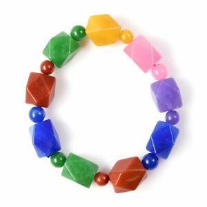 Burmese Red Jade Beaded Bracelet Stretchable