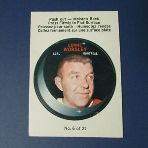 LORNE-GUMP-WORSLEY-1968-69-O-Pee-Chee-PUCK-STICKERS-6-Montreal-Canadiens-OPC