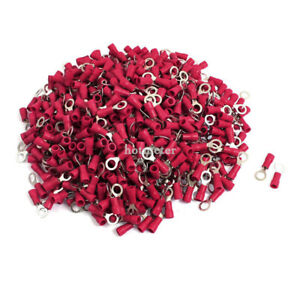 1000 Pcs RV1.25-5S A.W.G 22-16 Red Sleeve Pre Insulated Ring Terminals Connector