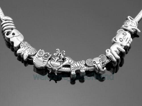 Vente en Gros Mixte Animal Elephant Serpent Fox Zebra Beads Fit Charm Bracelet ZY021