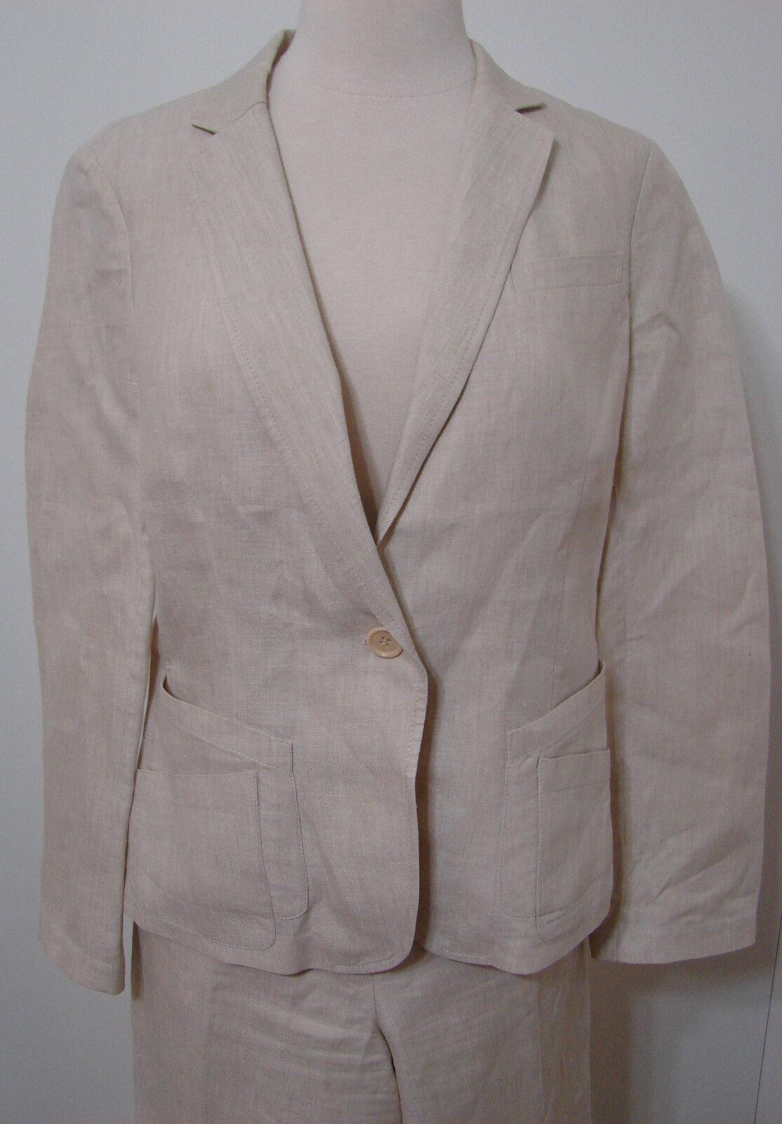 Donna Karan DKNY Pant Suit & Jacket Cream 100% Li… - image 2