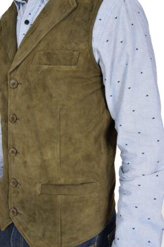 Mens Genuine Green Suede Waistcoat Soft Leather Gilet Classic Western Vest Yelek